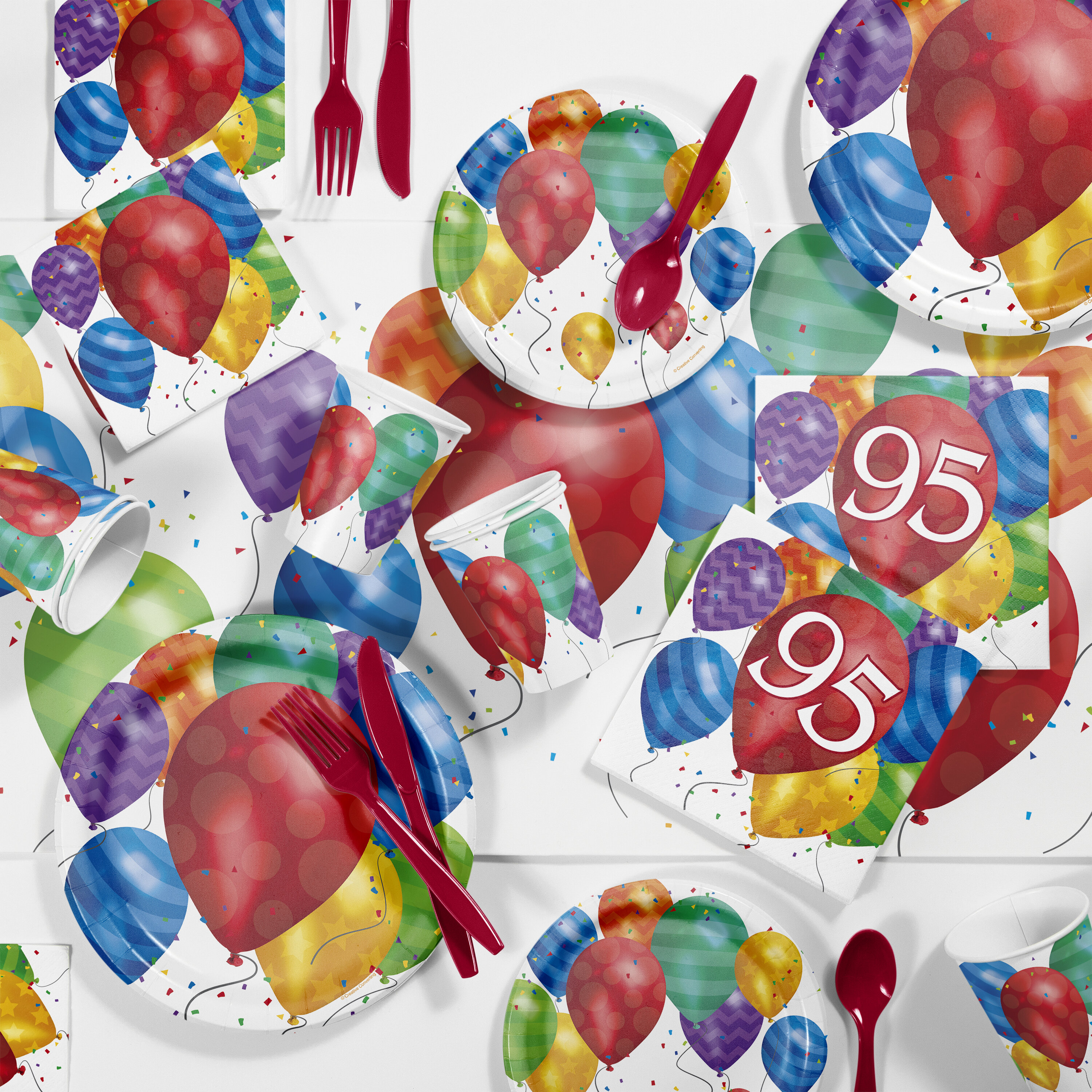 Creative Converting Balloon Blast 95th Birthday Party Paper Plastic Supplies Kit