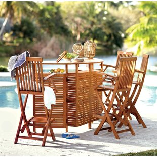 Joaquin Outdoor Patio Folding Bar Table by Beachcrest Home