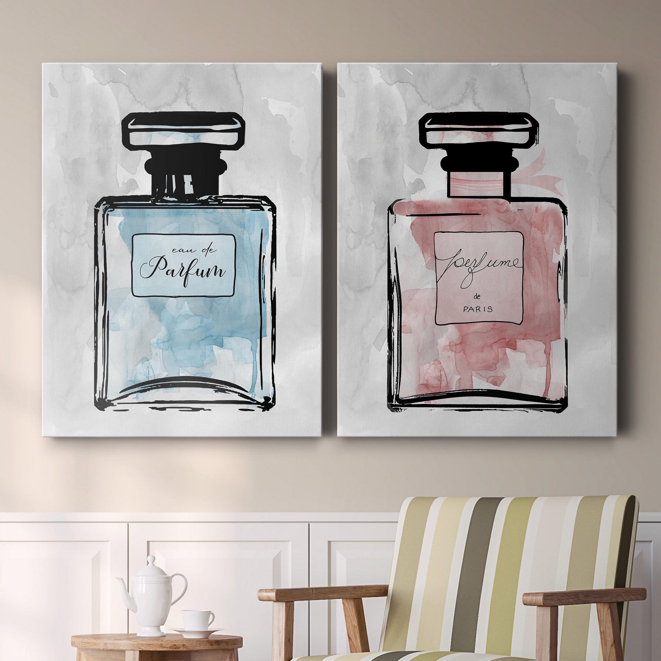 House Of Hampton Blue Wash Perfume 2 Piece Painting Print Set Wayfair