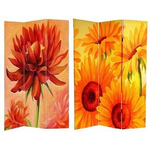 August Grove Jakubowski Poppies and Sunflowers 3 Panel Room Divider