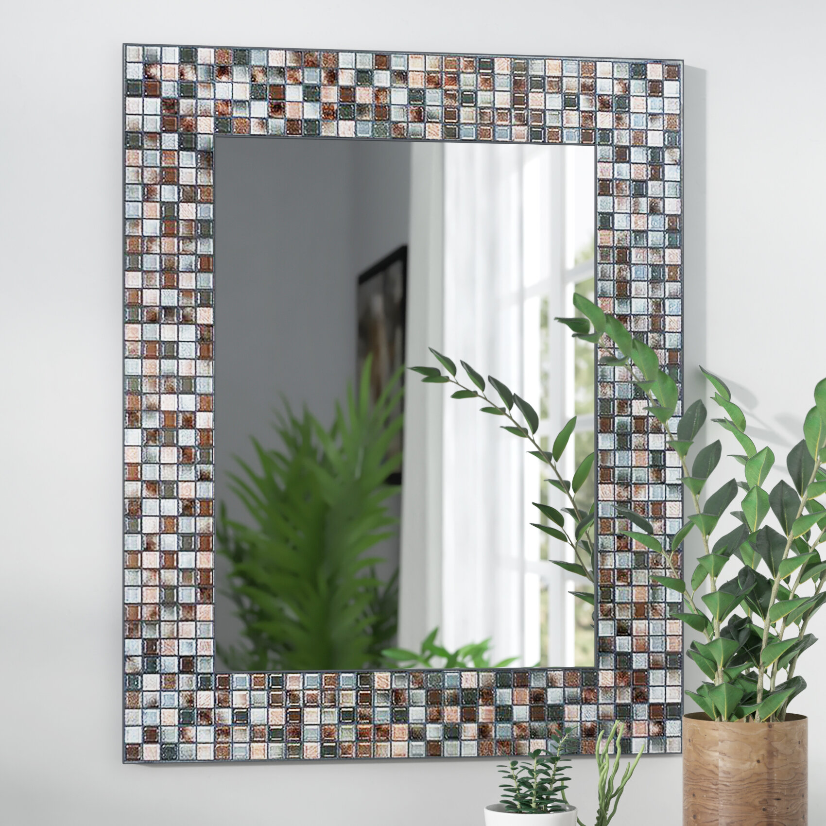 World Menagerie Tillman Mosaic Tile Accent Wall Mirror & Reviews ...