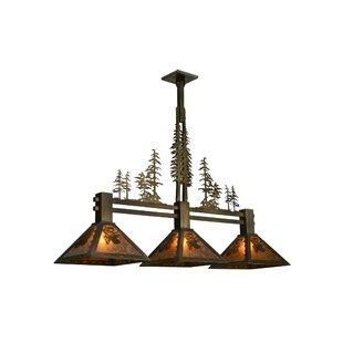 Meyda Tiffany Greenbriar Oak 3-Light Pool Table Lights Pendant