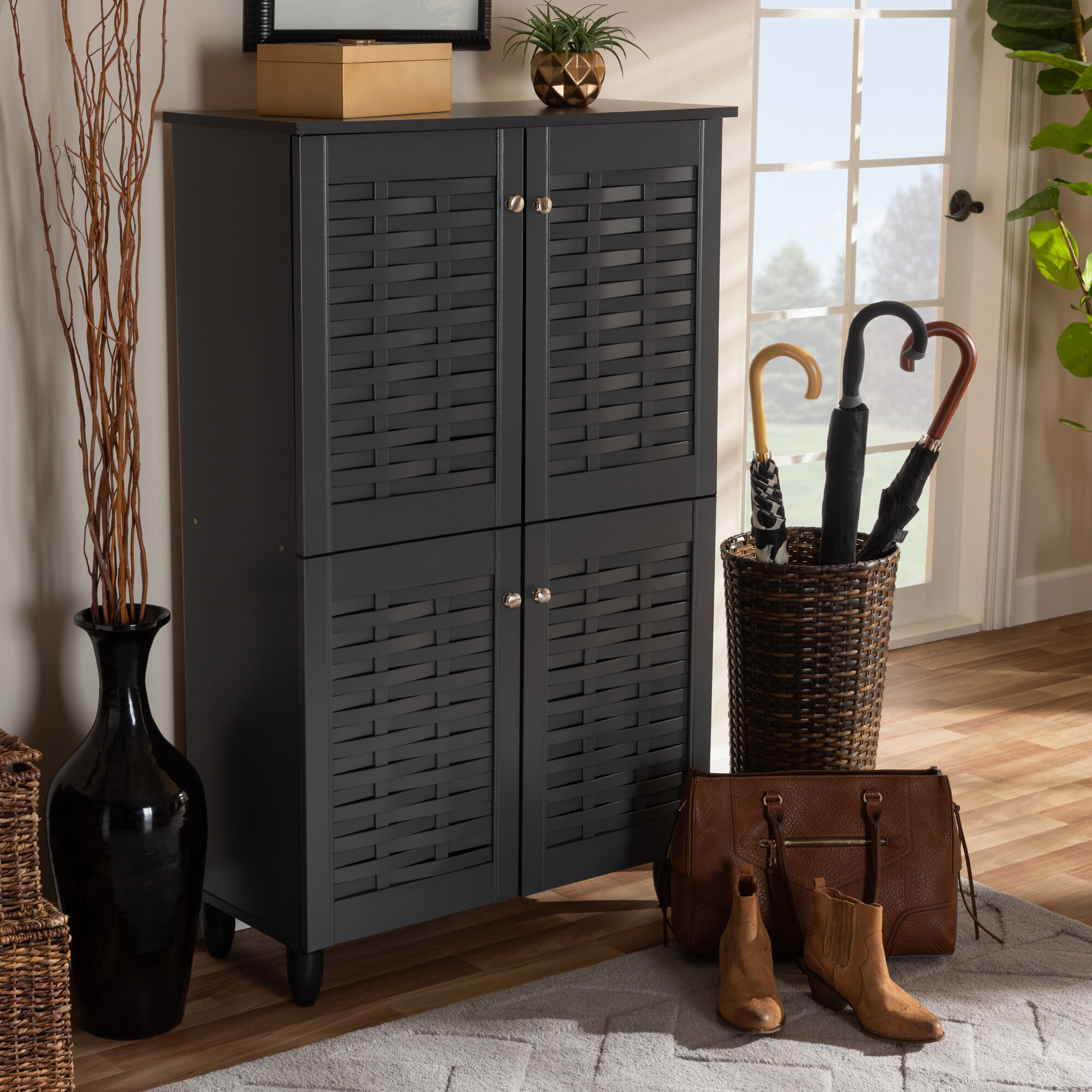 Picture of: Entryway 18 Pair Shoe Storage Cabinet Reviews