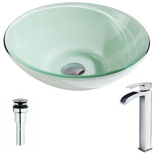 ANZZI Sonata Glass Circular Vessel Bathroom Sink with Faucet