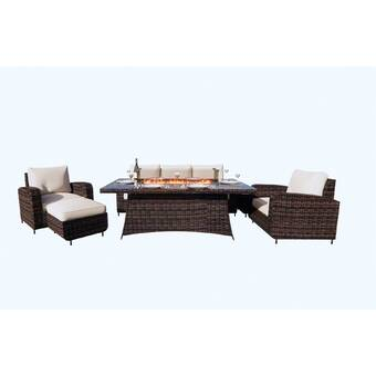 Brayden Studio Bentlee 5 Piece Rattan Sunbrella Sofa Seating Group With Cushions Reviews Wayfair