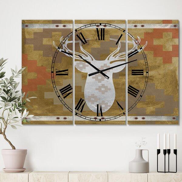 East Urban Home Oversized Patterned Deer Head 3 Panels Wall Clock Wayfair