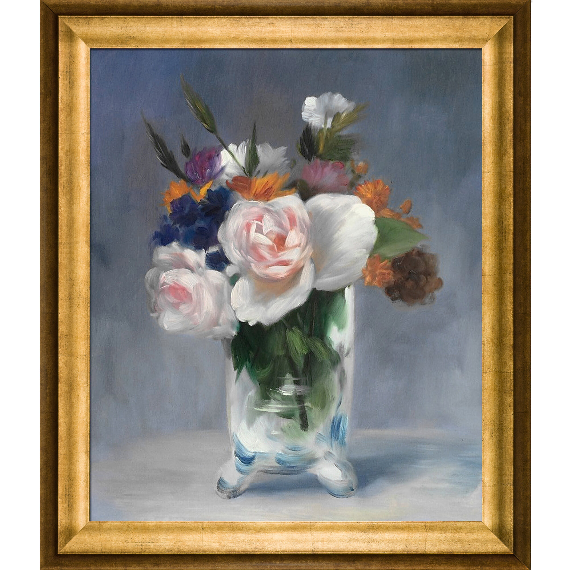 Vault W Artwork Flowers In A Crystal Vase By Edouard Manet Picture Frame Painting On Canvas Wayfair