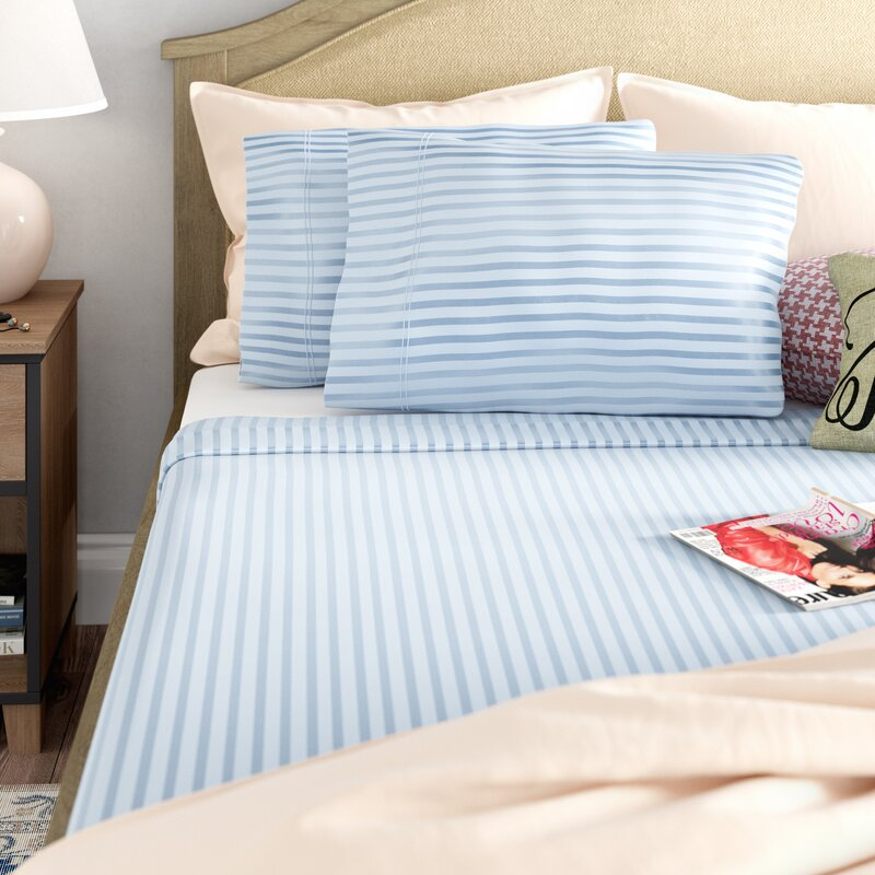 Alwyn Home 400 Thread Count Striped 100 Cotton Sheet Set Reviews Wayfair