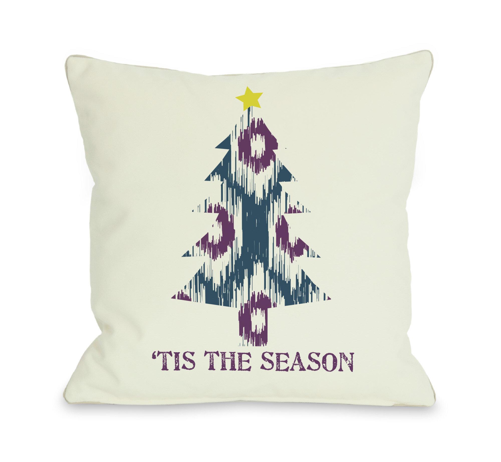 The Holiday Aisle Tavion Tis The Season Ikat Tree Reversible Throw Pillow Wayfair