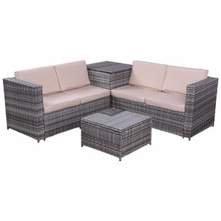Gleeson 4 Piece Patio Rattan Sofa Seating Group with Cushions