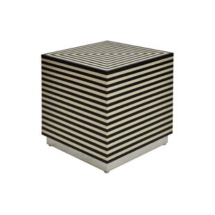 Worlds Away Horizontal Stripe Square Cube Ottoman