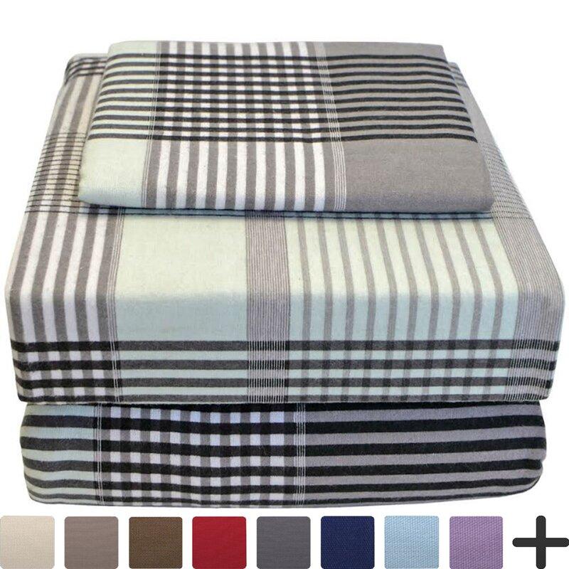 Bare Home Ivy Union Flannel Twin Xl Plaid 100 Cotton Sheet Set Wayfair