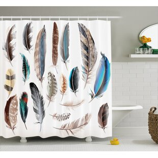 Feather Setting Decor Shower Curtain + Hooks