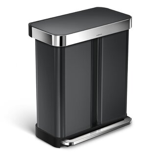 simplehuman 58 Liter Dual Compartment Rectangular Step Stainless Steel Trash Can with Liner Pocket Recycling Trash Can