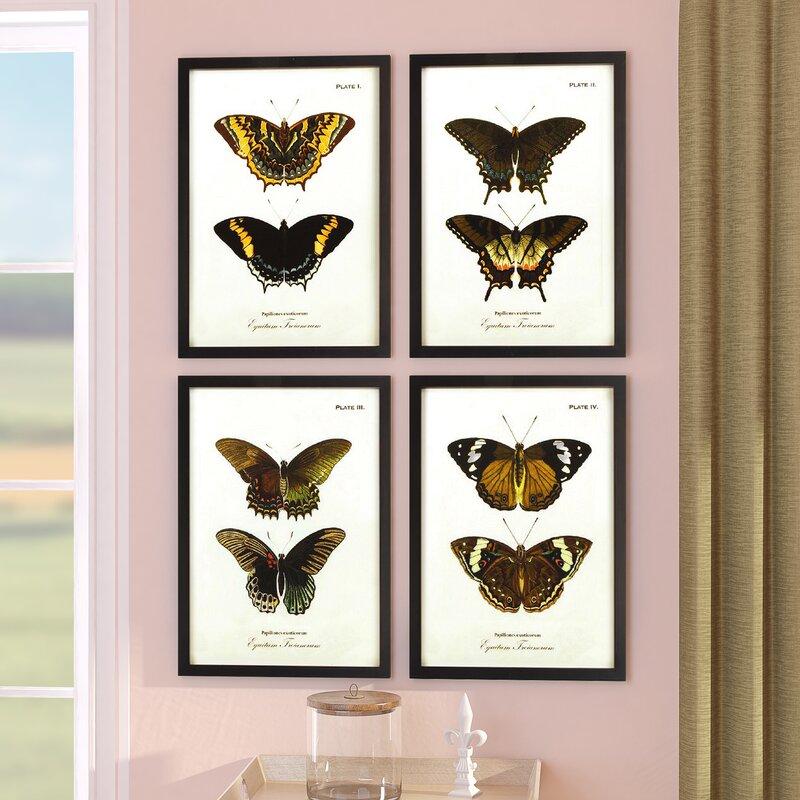 Laurel Foundry Modern Farmhouse Butterfly 4 Piece Framed Graphic Art ...