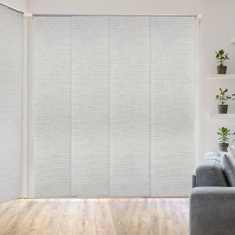 Orren Ellis Deluxe Adjustable Sliding Room Darkening White Gray Vertical Blind Reviews Wayfair