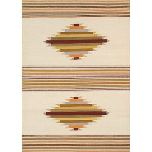 Kilim Hand-Woven Cream/Brown Area Rug
