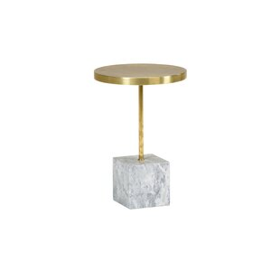 Brass and Marble End Table