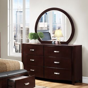 Latitude Run Rushmere 6 Drawer Double Dresser with Mirror Image
