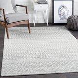 Leonard Geometric Light Gray/Medium Gray/White Area Rug