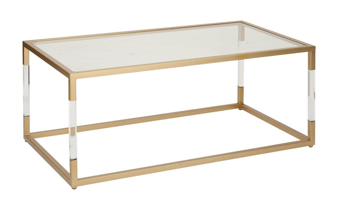 Acrylic Glass Coffee Table Cole Grey Metal And Glass Acrylic Coffee Table Reviews Wayfair