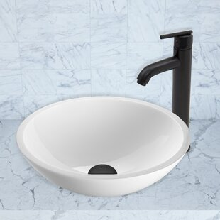 Phoenix Glass Circular Vessel Bathroom Sink with Faucet VIGO
