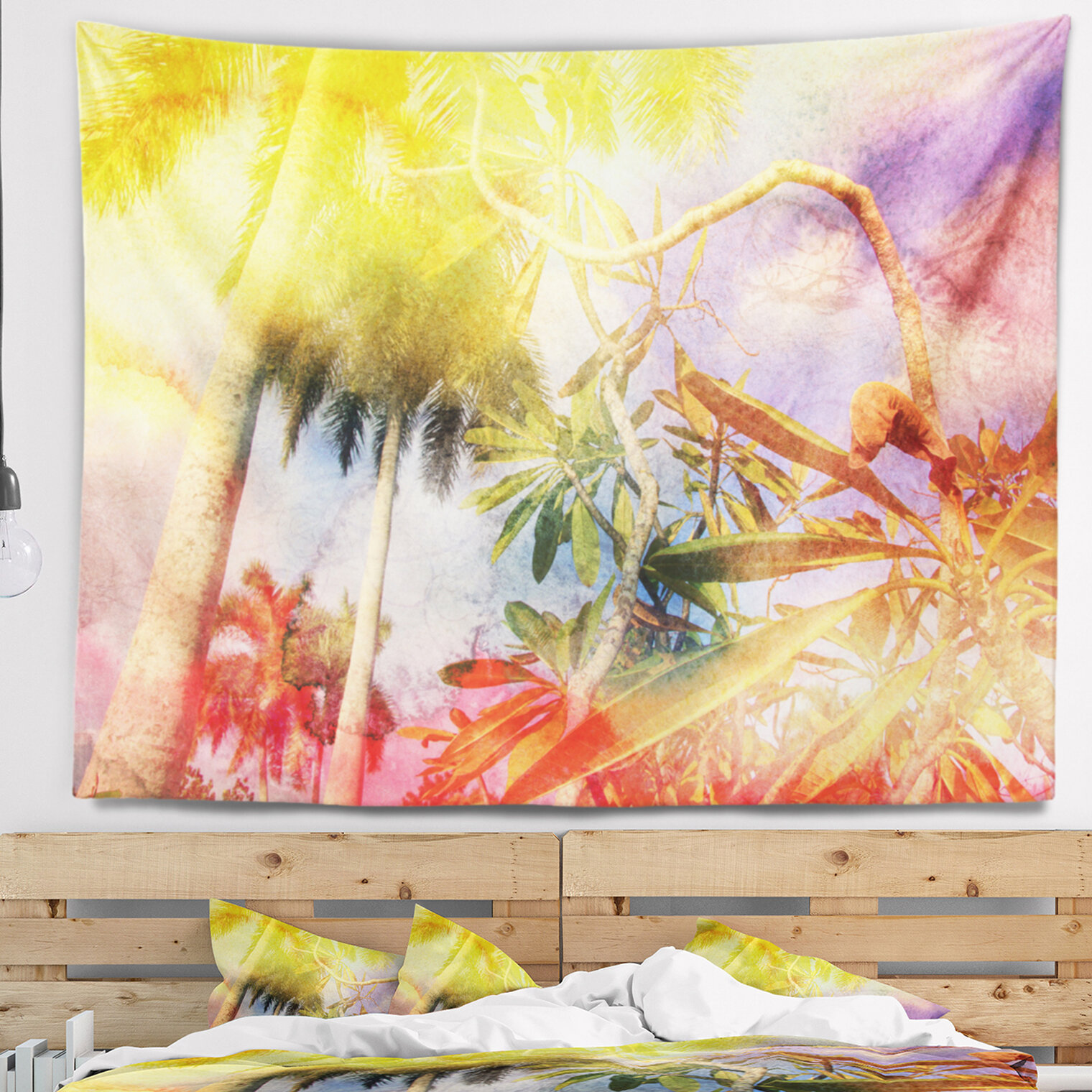 East Urban Home Landscape Yellow Retro Palm Trees Tapestry and Wall ...