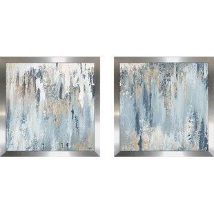 Abstract Bath Set of 3 Watercolor Paintings Bathrooom Art Prints by Artist DJR