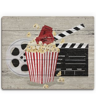 Popcorn, Clapperboard And Film Reel' Graphic Art on Plaque by Click Wall Art