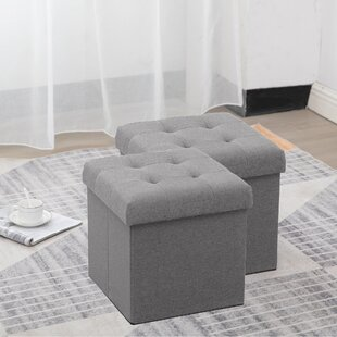 RaNesha Foldable Tufted Storage Ottoman (Set of 2)