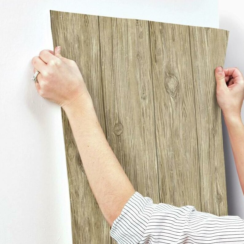 Brown Mushroom Distressed Shiplap Wood Peel /& Stick Modern Farmhouse Wallpaper