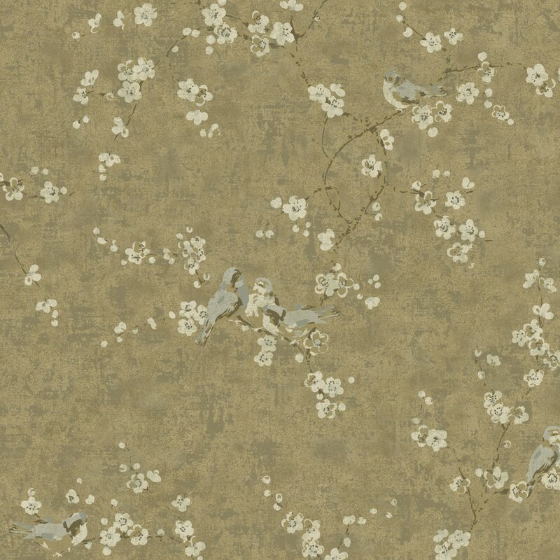 """Metallic II 27' L x 27"""" W Floral Wallpaper Roll"""