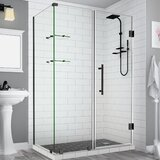 Bromley GS Frameless 67.25 x 72 Rectangle Hinged Shower Enclosure with Glass Shelves by Aston
