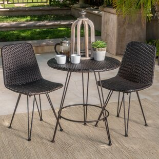 Wrought Studio Prewitt Outdoor Wicker 3 Piece Bistro Set