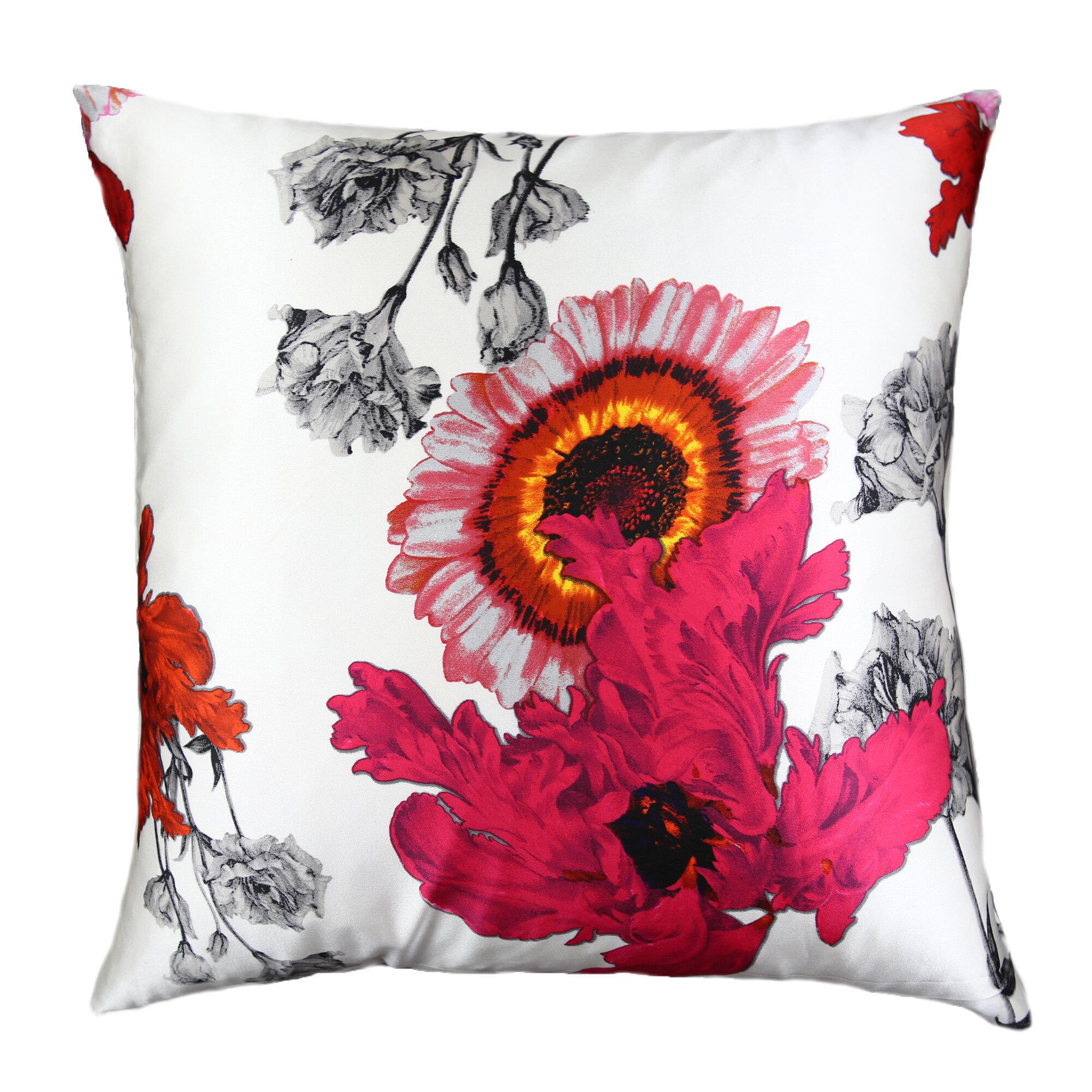 Ann Gish Daisy Silk Floral Throw Pillow Perigold