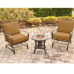Robertsdale 3-Piece Outdoor Patio Conversation Fire Pit Coffee Table Set with Cushioned Rocking Chairs and Liquid Propane Fire Pit by Canora Grey