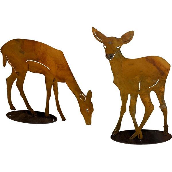 Loon Peak Metal Rustic Pair Of Deer On Base 2 Piece Garden Art Set Wayfair