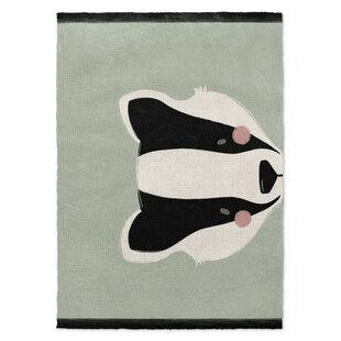 Compare prices Wiebe Badger Black/White/Green Area Rug By Mack & Milo