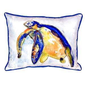 Sea Turtle Indoor/Outdoor Lumbar Pillow By Betsy Drake Interiors