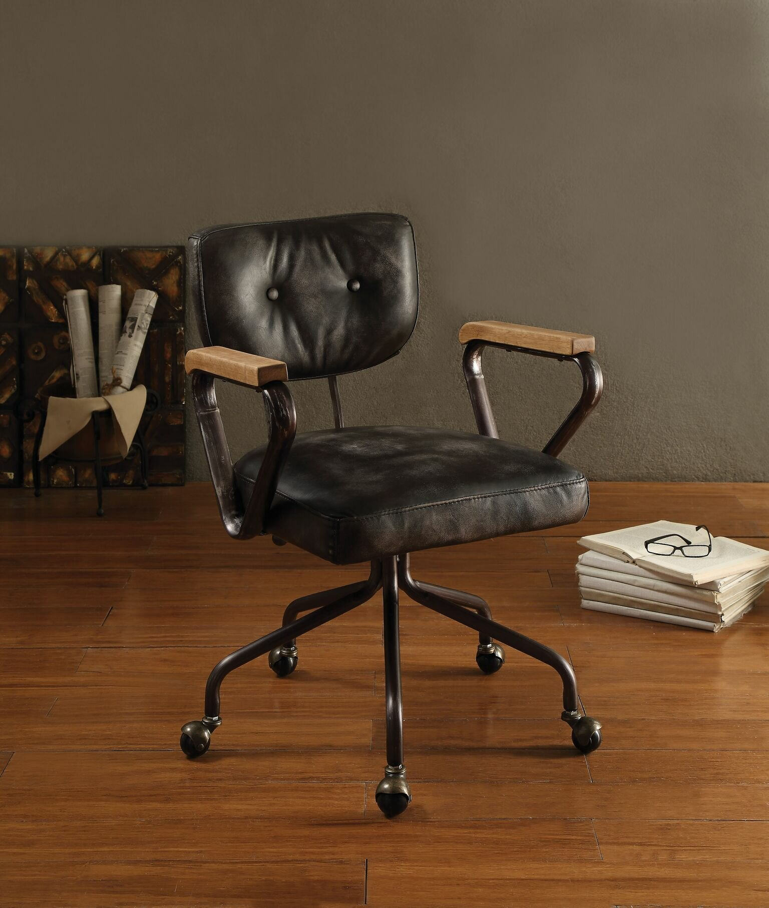 Pleasing 17 Stories Lipton Genuine Leather Task Chair Wayfair Pabps2019 Chair Design Images Pabps2019Com