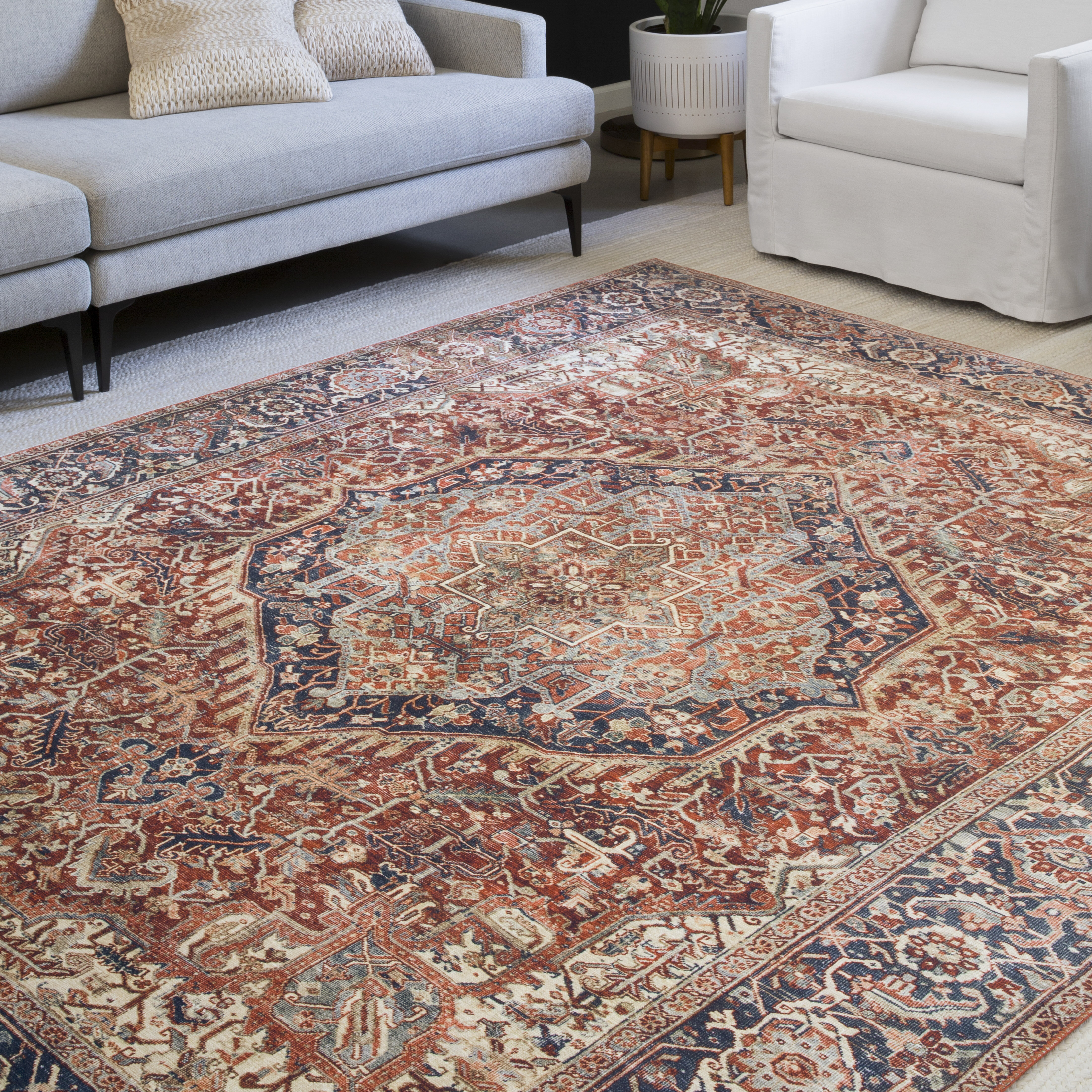 Image of: Oriental Red Navy Area Rug Reviews Joss Main