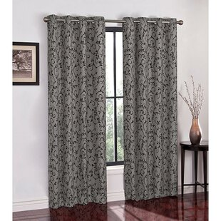 Street Flocked Scroll Top Room Darkening Thermal Grommet Panel Pair