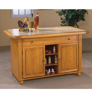 Lockwood Kitchen Island with Ceramic Tile Top by Loon Peak Best Price