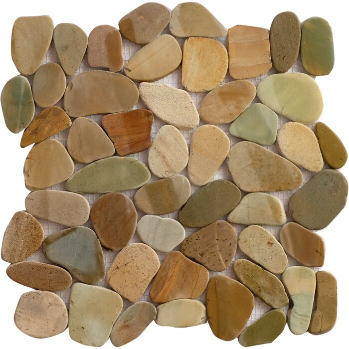 Bali Mix Random Sized Natural Stone Mosaic Tile In Brown Tan