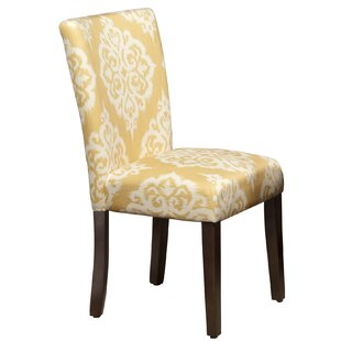 Bungalow Rose Natane Yellow & Cream Damask Parsons Chair (Set of 2)