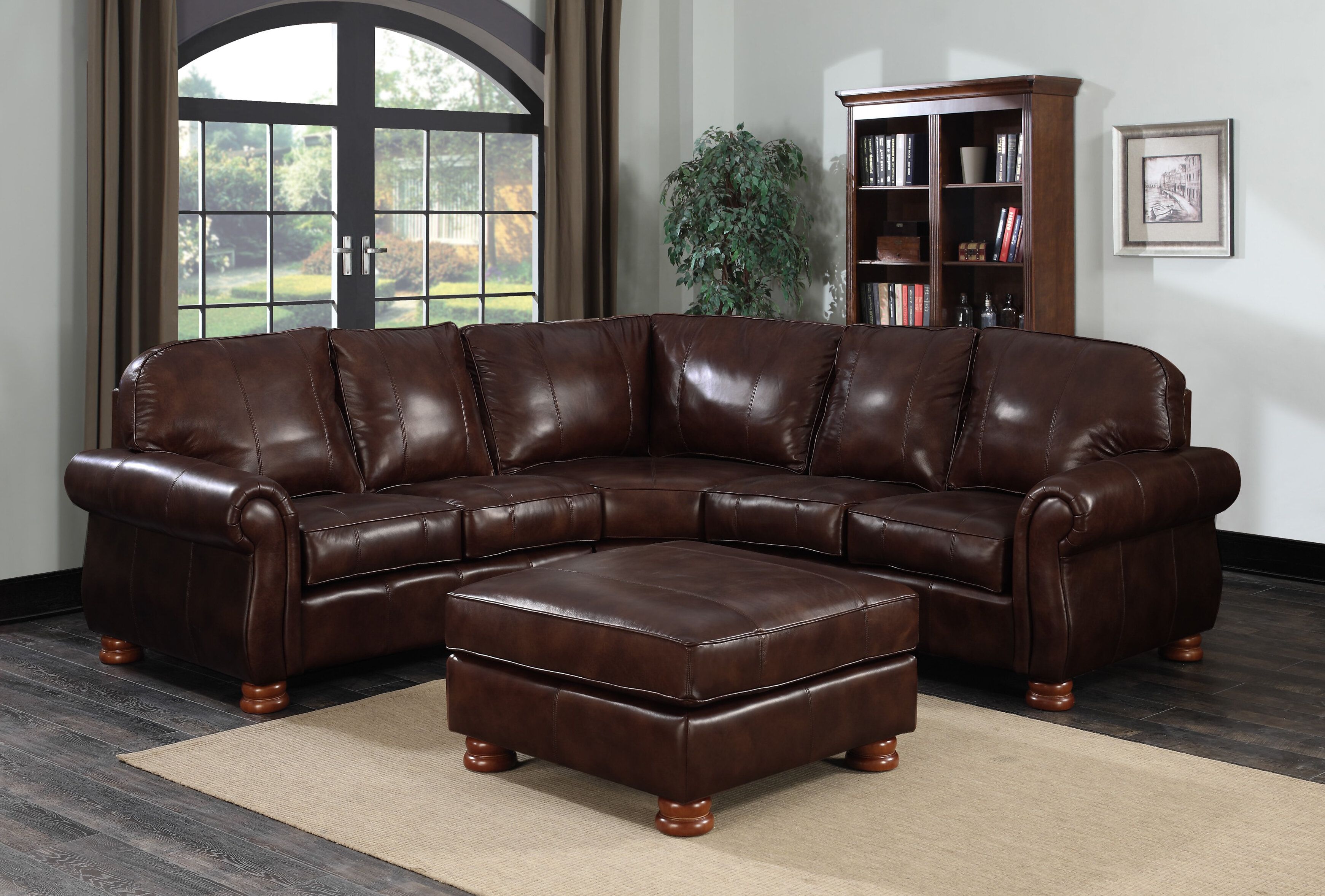 Beldale Symmetrical Leather Sectional With Ottoman