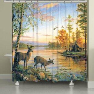 Savings Deer on Sunset Lake Shower Curtain ByEast Urban Home