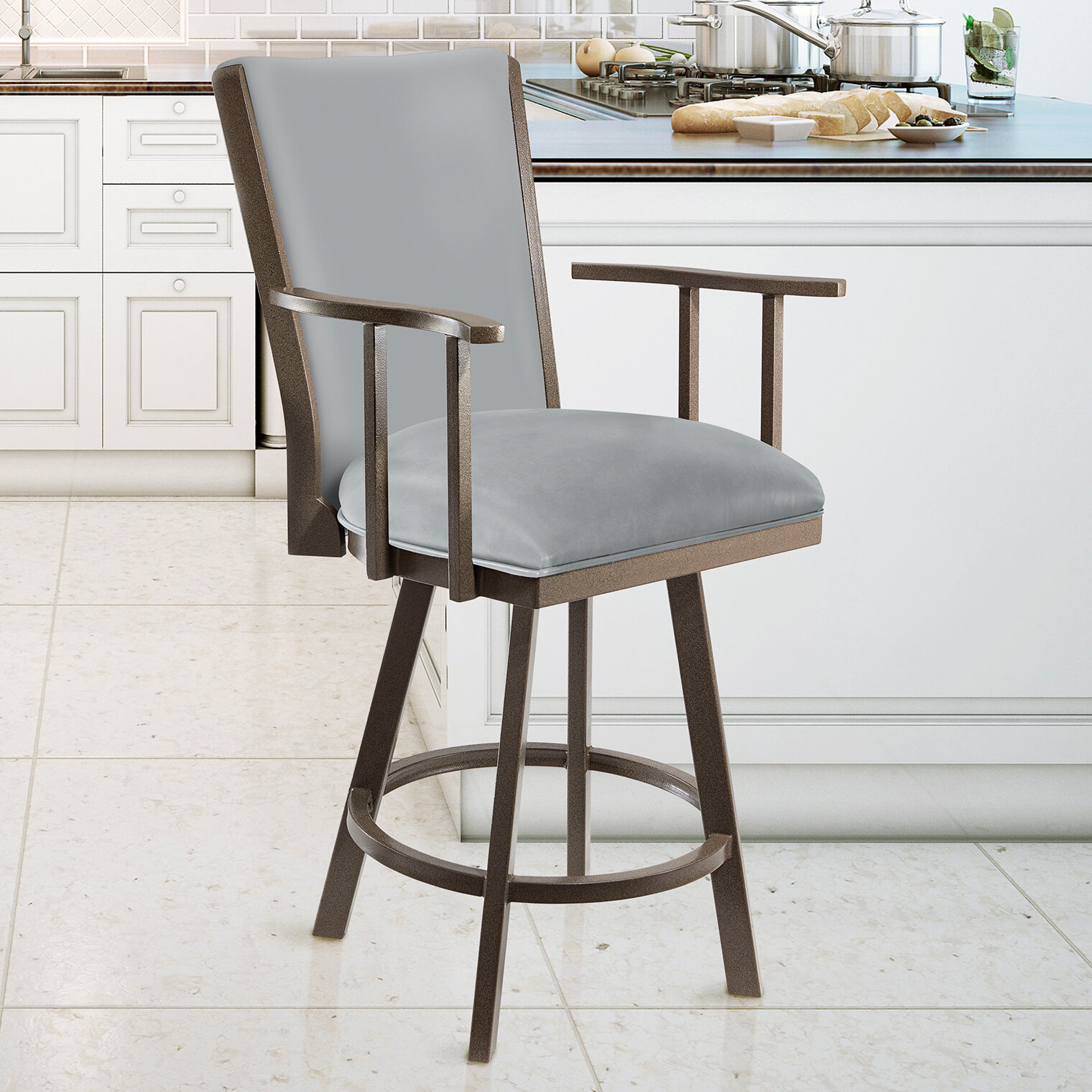 Astounding Taylor Grey Home Bouchard 26 Counter Height Metal Swivel Barstool In Grey Steel Faux Leather And Mocha Grey Finish Theyellowbook Wood Chair Design Ideas Theyellowbookinfo