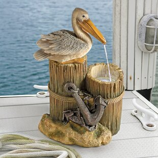 Wildon Home ® Resin Pelican's Seashore Roost Sculptural Fountain with LED Light