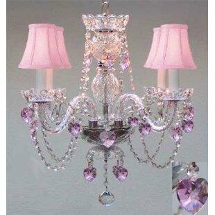 House of Hampton Karns Swarovski 4-Light Shaded Chandelier